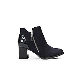 Wallis - Navy side zip flared heel boots