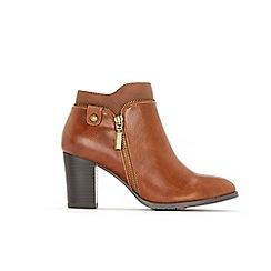 Wallis - Tan side zip ankle boots