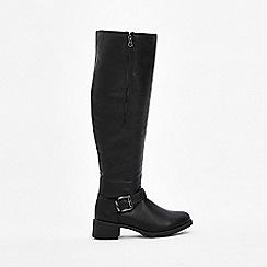 Wallis - Black fur high leg flat boots