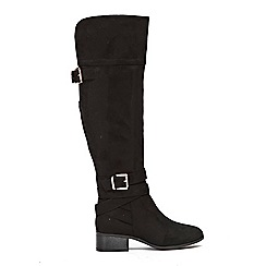 Wallis - Black double buckle over the knee boots