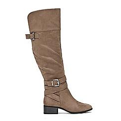 Wallis - Grey double buckle over the knee boots