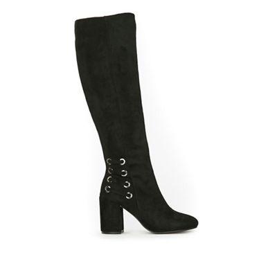 Wallis   Black High Leg Heeled Boots by Wallis