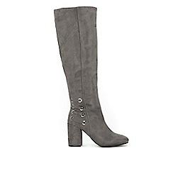 Wallis - Grey high leg heeled boots