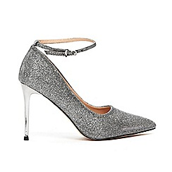 Wallis - Silver point and ankle strap court shoes