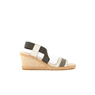 Wallis - Grey elastic strap espadrille wedge
