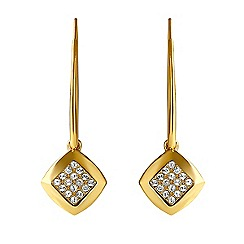 Adore - Square pave drop earring created with Swarovski crystals