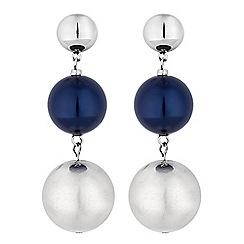 Principles by Ben de Lisi - Designer silver and navy orb drop earrings