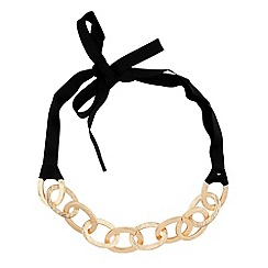 Principles by Ben de Lisi - Chunky gold textured link black ribbon necklace