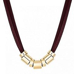 Principles by Ben de Lisi - Designer burgundy mesh and gold ring necklace