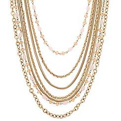 Principles by Ben de Lisi - Designer long pink bead multi row necklace