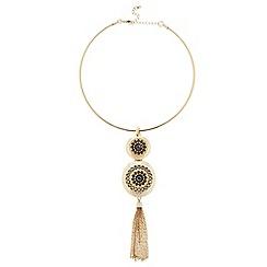 Principles by Ben de Lisi - Designer Gold disc tassel torque necklace