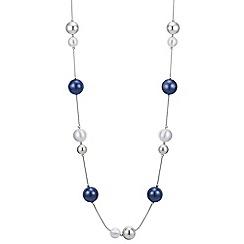 Principles by Ben de Lisi - Designer silver and navy orb rope necklace