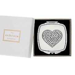 Jon Richard - Silver crystal heart compact mirror