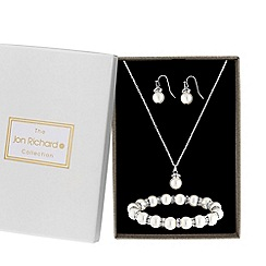 Jon Richard - Silver plated clear crystal pearl pendant 3 piece matching set