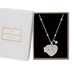 Jon Richard - Silver crystal heart locket pendant necklace