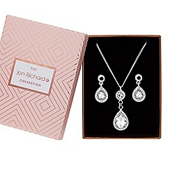 Jon Richard - Crystal peardrop jewellery set in a gift box