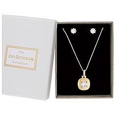 Jon Richard - Gold cubic zirconia square jewellery set