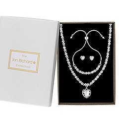 Jon Richard - Silver crystal heart statement jewellery set