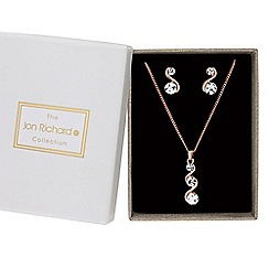 Jon Richard - Rose gold crystal wave jewellery set in a gift box
