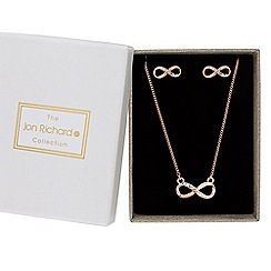 Jon Richard - Rose gold crystal infinity jewellery set in a gift box