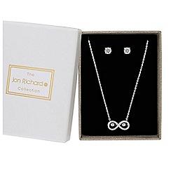 Jon Richard - Silver cubic zirconia dancing gemstone infinity jewellery set