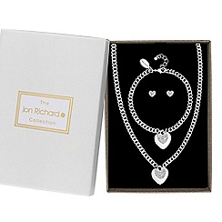 Jon Richard - Silver pave crystal heart charm jewellery set