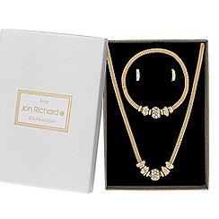 Jon Richard - Gold crystal pave ball charm jewellery set