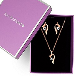 Jon Richard - Rose gold cubic zirconia swirl jewellery set