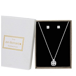 Jon Richard - Silver small cubic zirconia square pendant with matching earrings