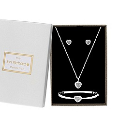 Jon Richard - Silver plated clear heart matching set
