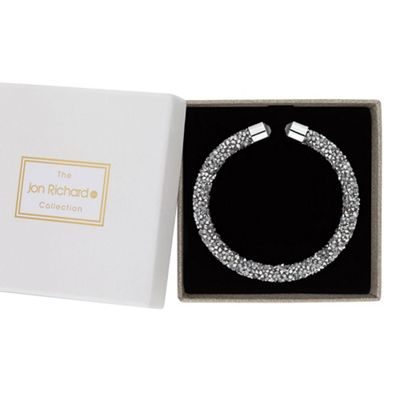 jon richard silver crystal sparkle bangle in a gift box
