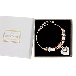 Jon Richard - Rose gold and silver heart charm bracelet