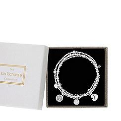 Jon Richard - Silver plated clear crystal 3 pack charm stretch bracelet