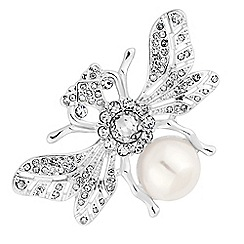 The Collection - Silver crystal and pearl bug brooch