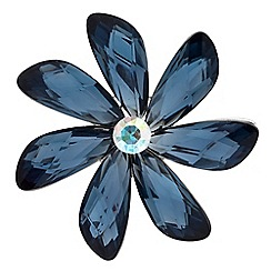 The Collection - Silver blue crystal flower brooch