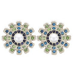 The Collection - Floral crystal stud earrings