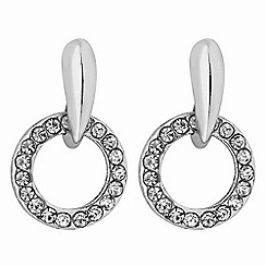 The Collection - Silver crystal hoop drop earrings