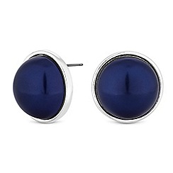 The Collection - Silver blue pearl dome stud earrings