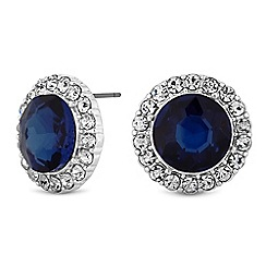 The Collection - Silver blue crystal halo stud earrings