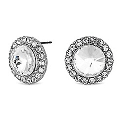 The Collection - Silver crystal halo large stud earrings