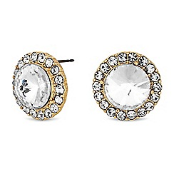 The Collection - Gold crystal halo large stud earrings