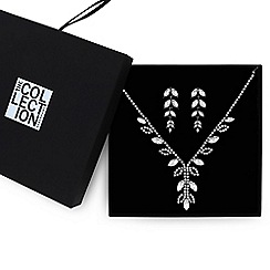 The Collection - Silver crystal leaf jewellery set