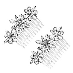 The Collection - Floral crystal hair comb set