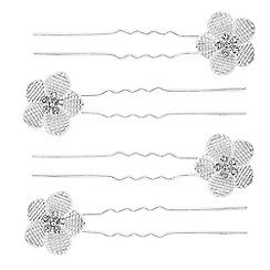 The Collection - Crystal floral hair pin set
