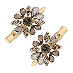 The Collection - Gold crystal floral hair clip set