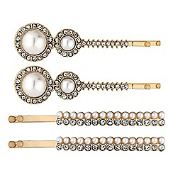 The Collection - Gold crystal and pearl hair slide set