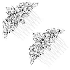 The Collection - Silver ornate crystal hair comb set