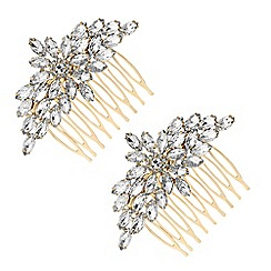 The Collection - Gold crystal floral hair comb set