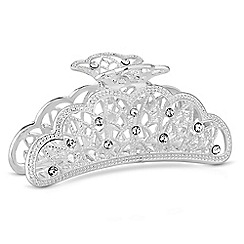 The Collection - Silver crystal ornate hair clamp