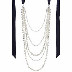 The Collection - Pearl multi row ribbon necklace
